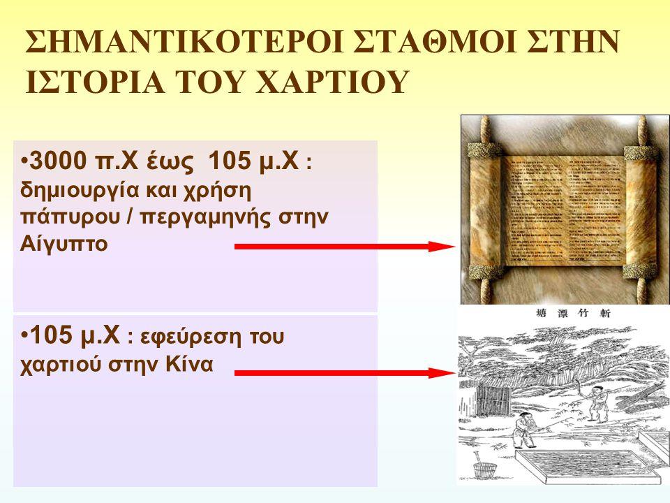 ΣΗΜΑΝΤΙΚΟΤΕΡΟΙ ΣΤΑΘΜΟΙ ΣΤΗΝ ΙΣΤΟΡΙΑ ΤΟΥ ΧΑΡΤΙΟΥ 3000 π.Χ έως 105 μ.Χ : δημιουργία και χρήση πάπυρου / περγαμηνής στην Αίγυπτο 105 μ.Χ : εφεύρεση του χ