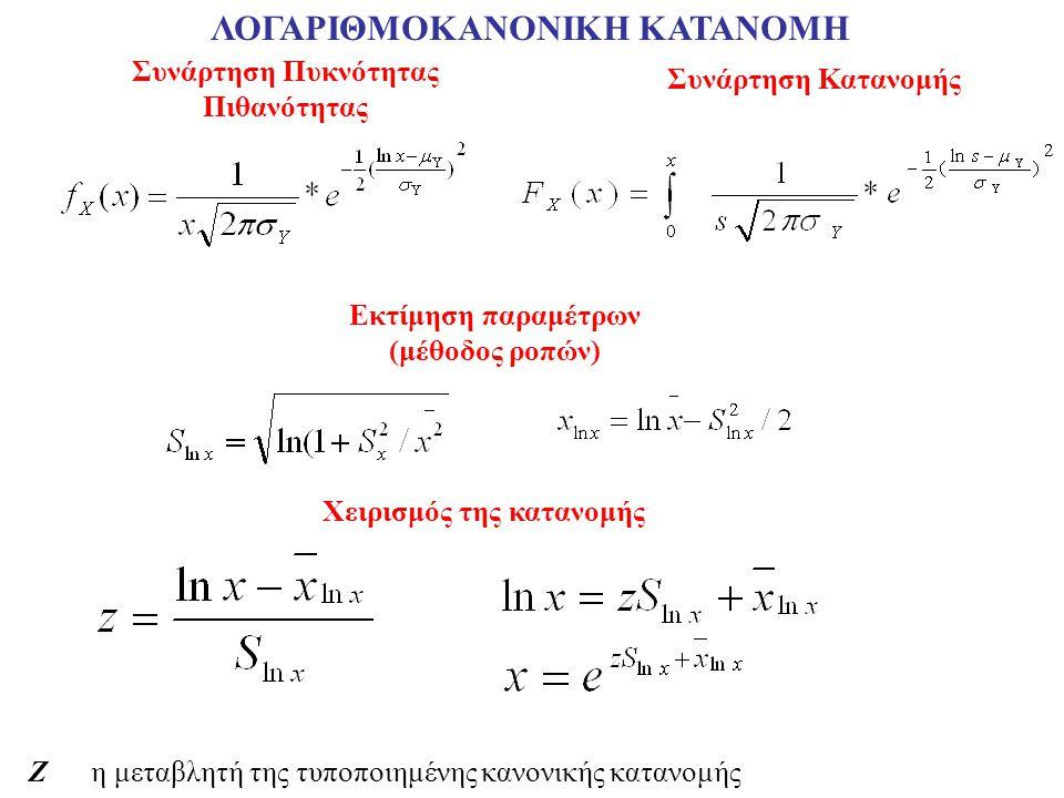 ΛΟΓΑΡΙΘΜΟΚΑΝΟΝΙΚΗ ΚΑΤΑΝΟΜH Συνάρτηση Πυκνότητας Πιθανότητας Συνάρτηση Κατανομής Χειρισμός της κατανομής Εκτίμηση παραμέτρων (μέθοδος ροπών) Z η μεταβλητή της τυποποιημένης κανονικής κατανομής
