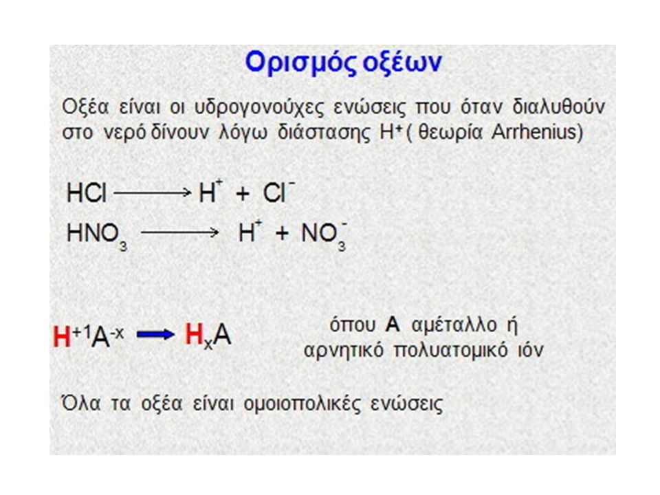 Ιδιότητες οξέων, βάσεων Οξέα α.Όξινη γεύση β. Αλλάζουν το χρώμα των δεικτών γ.