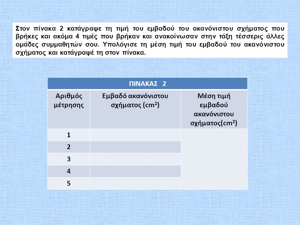Στον πίνακα 2 κατάγραψε τη τιμή του εμβαδού του ακανόνιστου σχήματος που βρήκες και ακόμα 4 τιμές που βρήκαν και ανακοίνωσαν στην τάξη τέσσερις άλλες