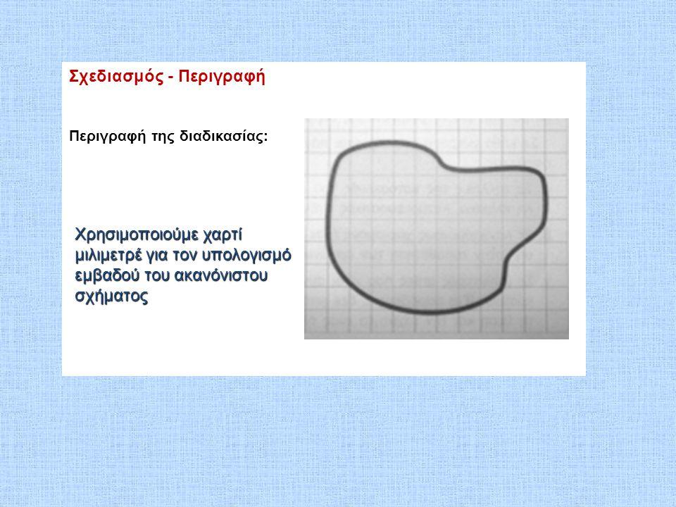 Σχεδιασμός - Περιγραφή Περιγραφή της διαδικασίας: Χρησιμοποιούμε χαρτί μιλιμετρέ για τον υπολογισμό εμβαδού του ακανόνιστου σχήματος