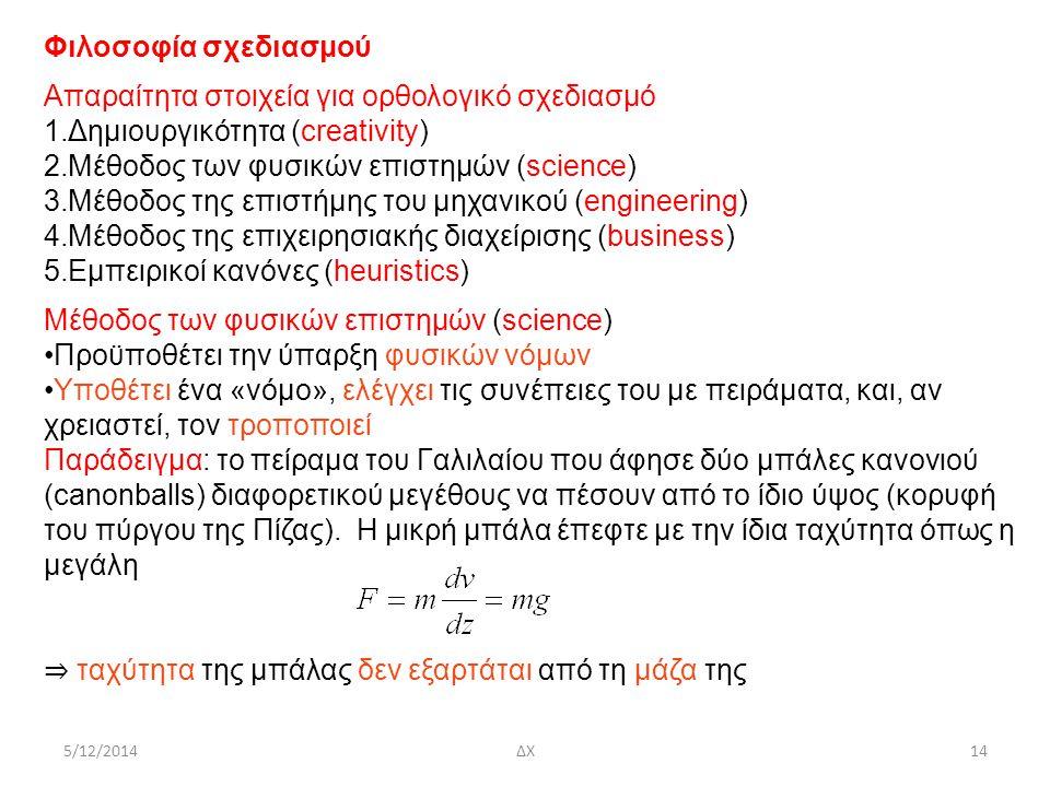 5/12/2014ΔΧ14 Φιλοσοφία σχεδιασμού Απαραίτητα στοιχεία για ορθολογικό σχεδιασμό 1.Δημιουργικότητα (creativity) 2.Μέθοδος των φυσικών επιστημών (scienc