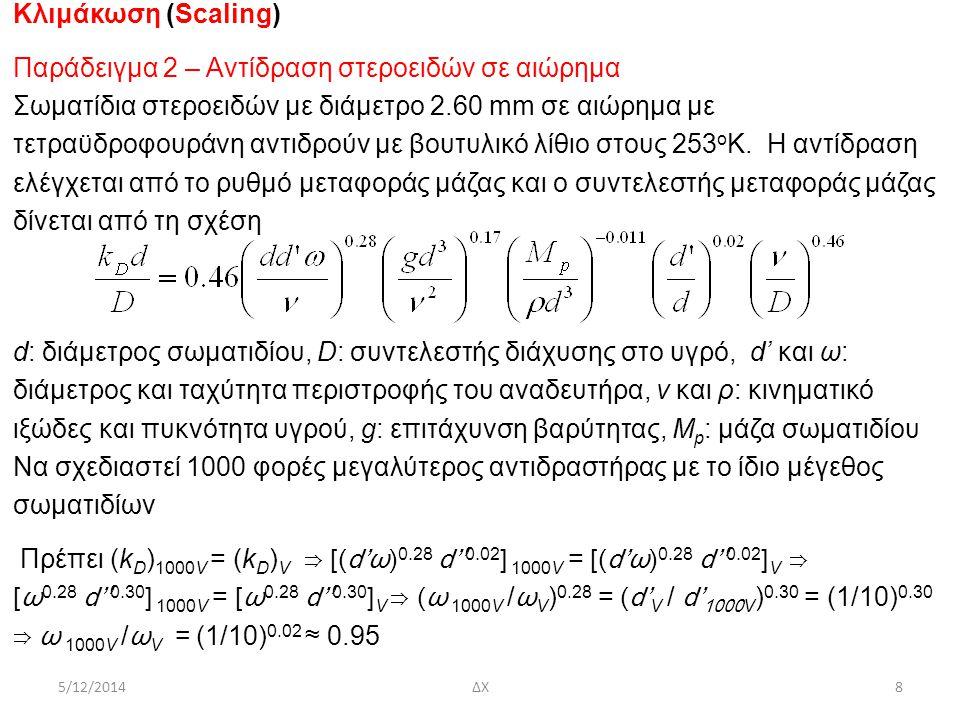 5/12/2014ΔΧ8 Κλιμάκωση (Scaling) Παράδειγμα 2 – Αντίδραση στεροειδών σε αιώρημα Σωματίδια στεροειδών με διάμετρο 2.60 mm σε αιώρημα με τετραϋδροφουράν