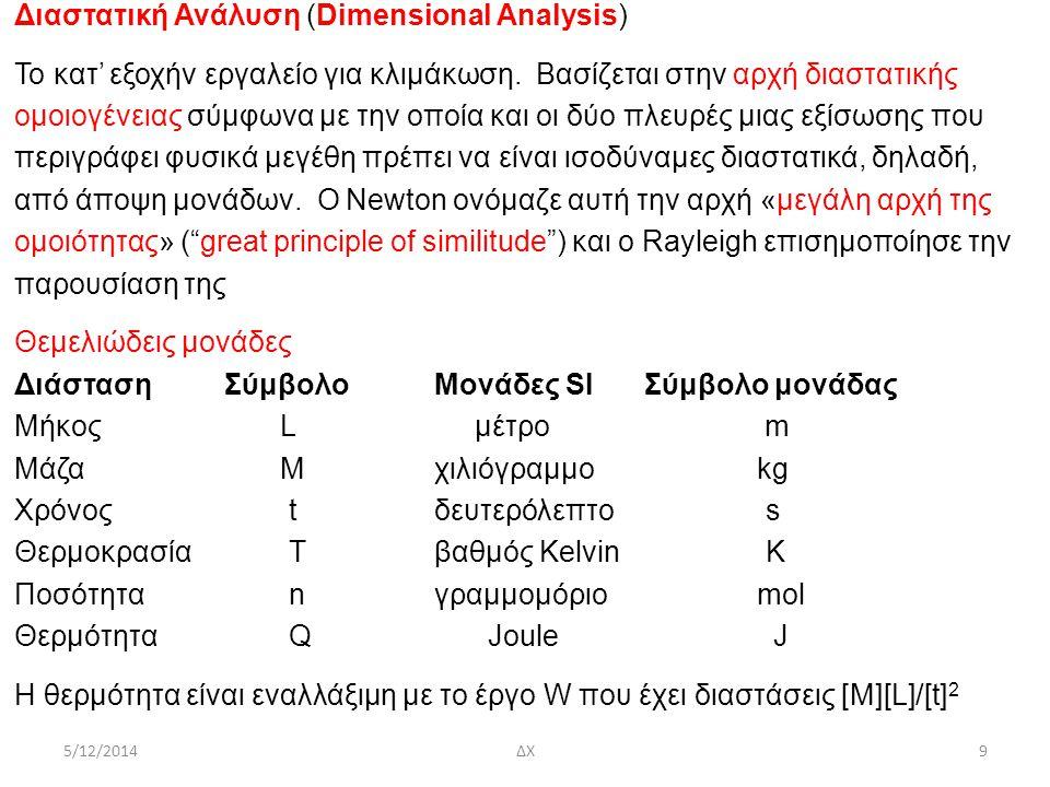5/12/2014ΔΧ10 Διαστατική Ανάλυση (Dimensional Analysis) Προχωρεί με χρήση του θεωρήματος Π του Buckingham σύμφωνα με το οποίο ανφυσικό μέγεθος Q 1 είναι συνάρτηση Ν -1 άλλων φυσικών μεγεθώνQ 2,…,Q N, δηλαδή, Q 1 = f (Q 2,…,Q N )(1), και P είναι ο αριθμός των θεμελιωδών διαστάσεων, η (1) μπορεί να γραφτεί ως Π 1 = f (Π 2,…,Π N-Ρ )(2) όπου Π 1, Π 2,…,Π N-Ρ είναι αδιάστατες ομάδες (μεγεθών) Παράδειγμα – Δύναμη F που ενεργεί σε σφαίρα, με διάμετρο d, κινούμενη με σταθερή ταχύτητα U σε ρευστό, με πυκνότητα ρ και ιξώδες μ, που ηρεμεί F = f (d, U, ρ, μ)(3) F = Q 1, d = Q 2, U = Q 3, ρ = Q 4, μ = Q 4.