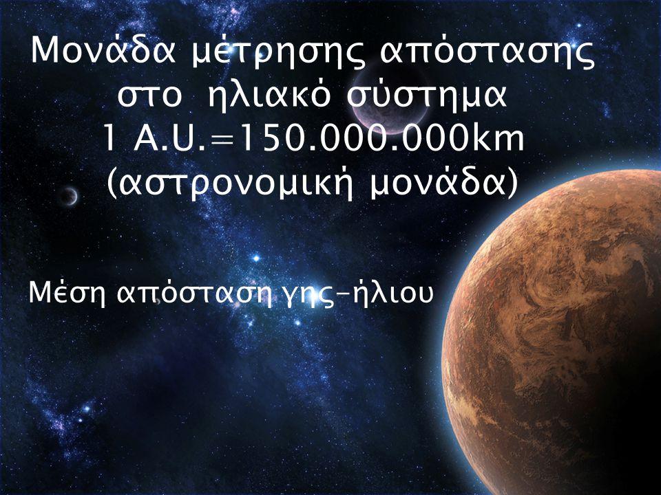 Μονάδα μέτρησης απόστασης στο ηλιακό σύστημα 1 A.U.=150.000.000km (αστρονομική μονάδα) Μέση απόσταση γης-ήλιου