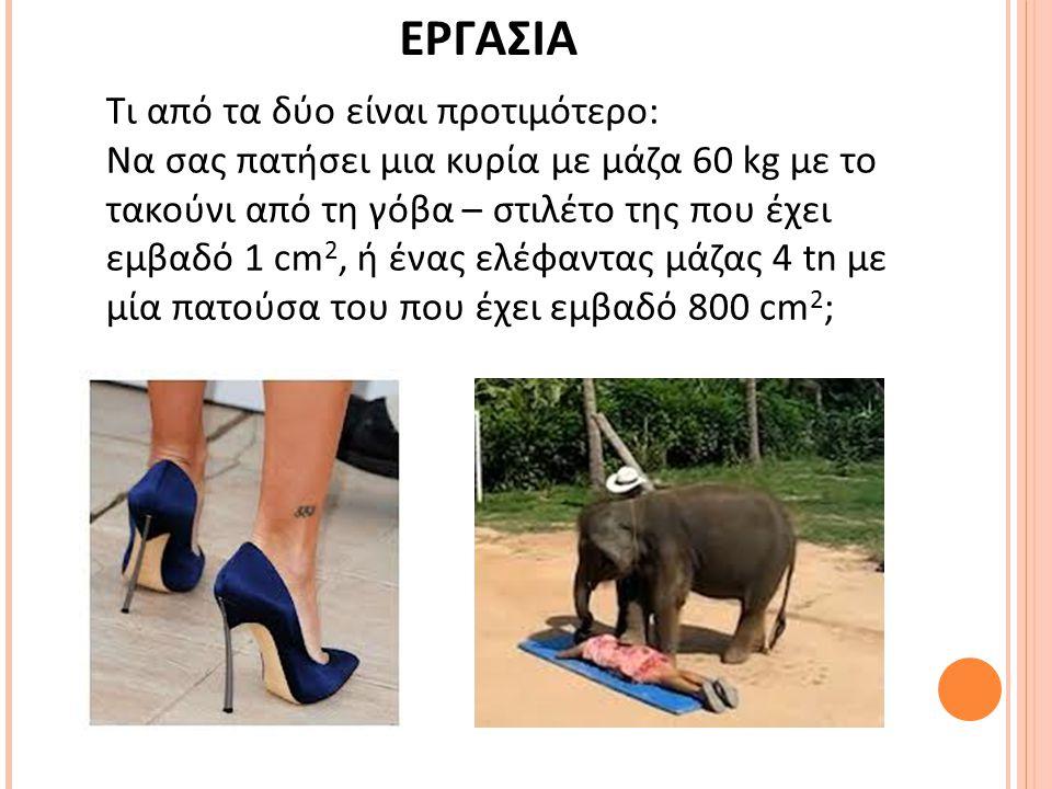 Τι από τα δύο είναι προτιμότερο: Να σας πατήσει μια κυρία με μάζα 60 kg με το τακούνι από τη γόβα – στιλέτο της που έχει εμβαδό 1 cm 2, ή ένας ελέφαντ