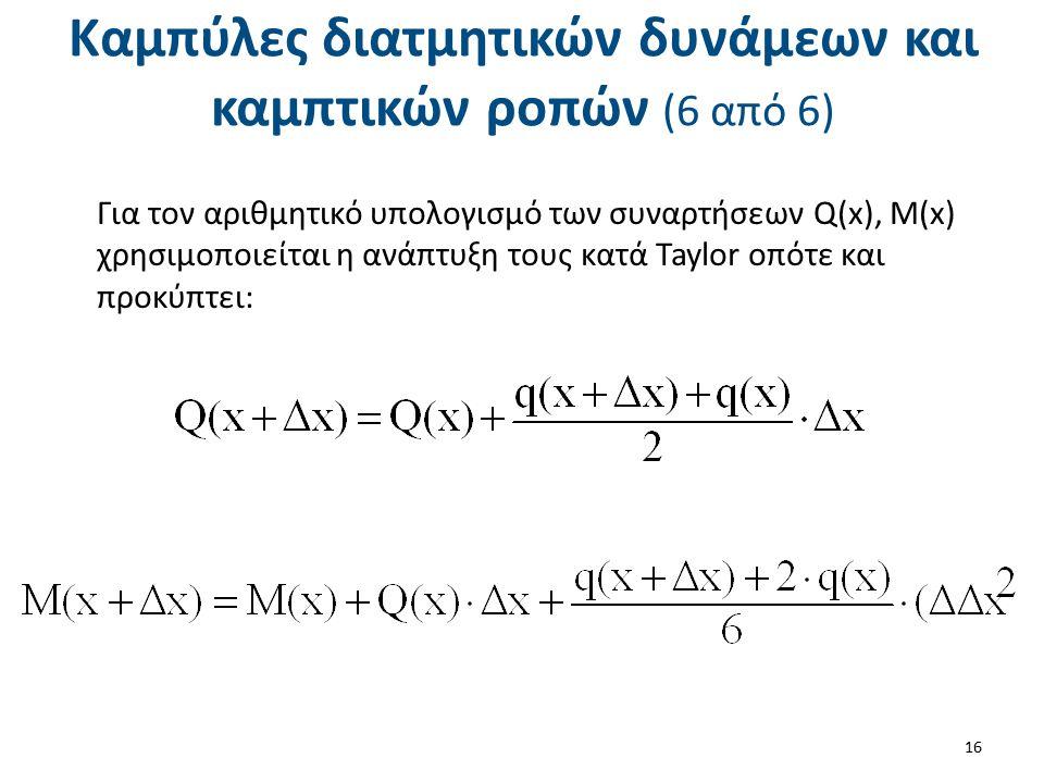 Καμπύλες διατμητικών δυνάμεων και καμπτικών ροπών (6 από 6) Για τον αριθμητικό υπολογισμό των συναρτήσεων Q(x), M(x) χρησιμοποιείται η ανάπτυξη τους κ