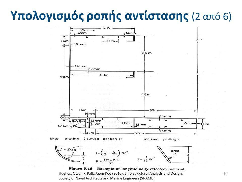 19 Υπολογισμός ροπής αντίστασης (2 από 6) Hughes, Owen F. Paik, Jeom Kee (2010). Ship Structural Analysis and Design. Society of Naval Architects and