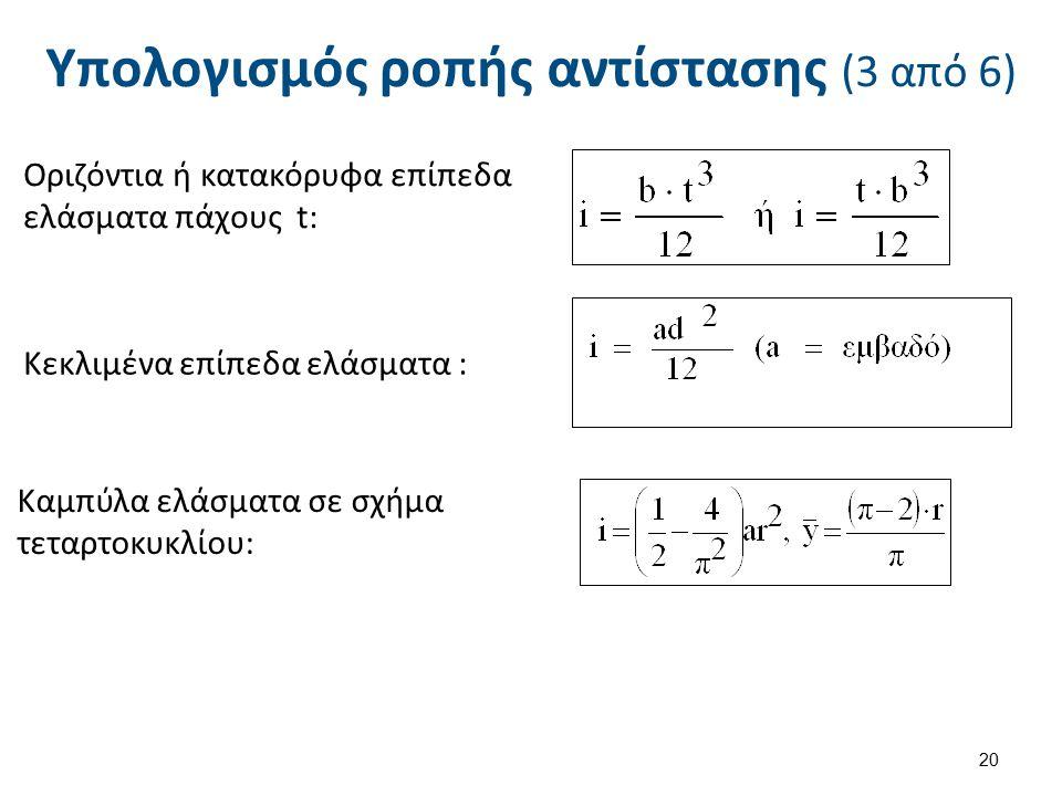 Οριζόντια ή κατακόρυφα επίπεδα ελάσματα πάχους t: Κεκλιμένα επίπεδα ελάσματα : Καμπύλα ελάσματα σε σχήμα τεταρτοκυκλίου: 20 Υπολογισμός ροπής αντίστασ