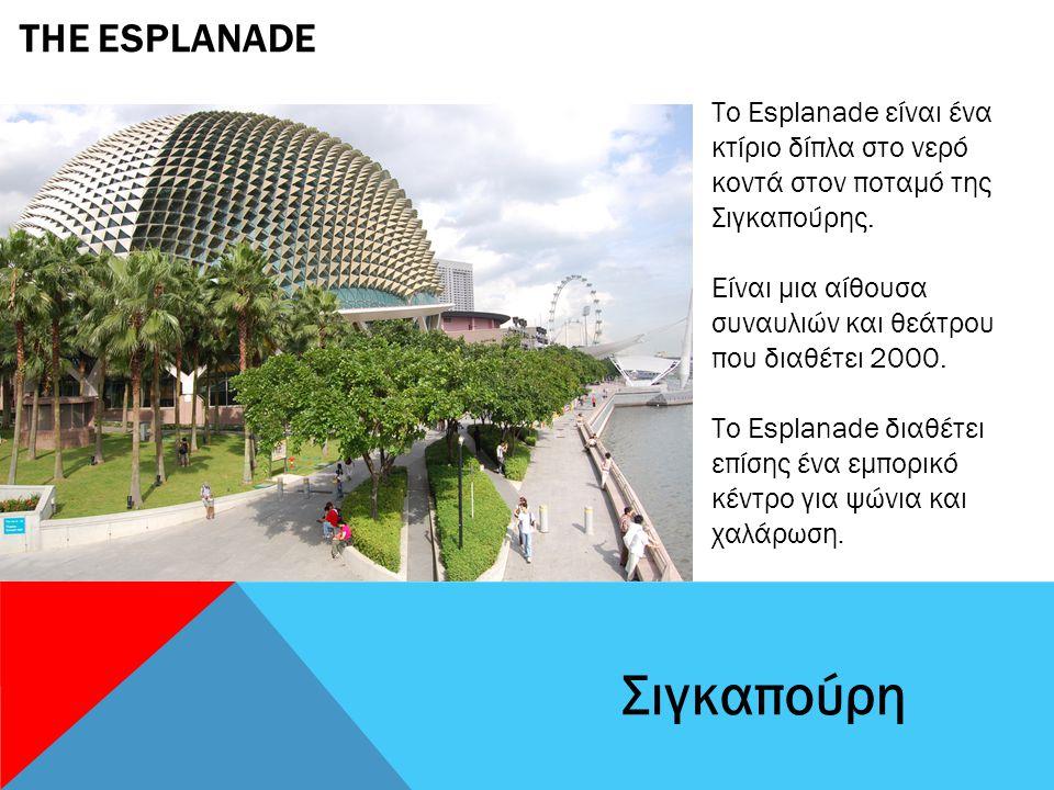 THE ESPLANADE Σιγκαπούρη Το Esplanade είναι ένα κτίριο δίπλα στο νερό κοντά στον ποταμό της Σιγκαπούρης.