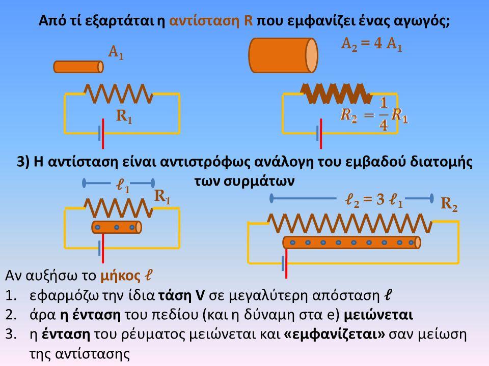 Από τί εξαρτάται η αντίσταση R που εμφανίζει ένας αγωγός; R1R1 R2R2 1 2 = 3 1 R1R1 3) Η αντίσταση είναι αντιστρόφως ανάλογη του εμβαδού διατομής των σ