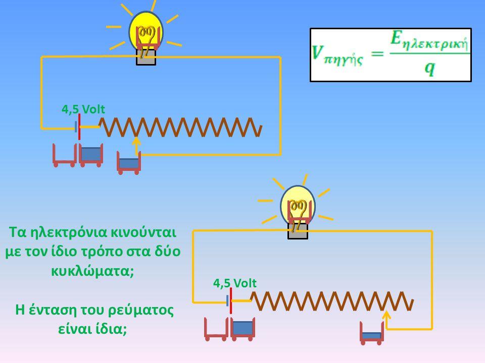 Τα ηλεκτρόνια κινούνται με τον ίδιο τρόπο στα δύο κυκλώματα; Η ένταση του ρεύματος είναι ίδια;
