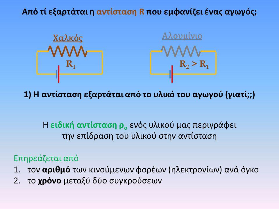 R1R1 R 2 > R 1 Χαλκός Αλουμίνιο 1) Η αντίσταση εξαρτάται από το υλικό του αγωγού (γιατί;;) Η ειδική αντίσταση ρ ο ενός υλικού μας περιγράφει την επίδρ