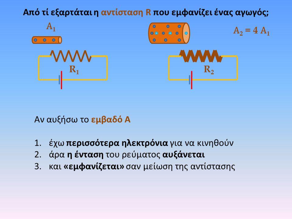 R1R1 Α1Α1 Α 2 = 4 Α 1 Αν αυξήσω το εμβαδό Α 1.έχω περισσότερα ηλεκτρόνια για να κινηθούν 2.άρα η ένταση του ρεύματος αυξάνεται 3.και «εμφανίζεται» σαν