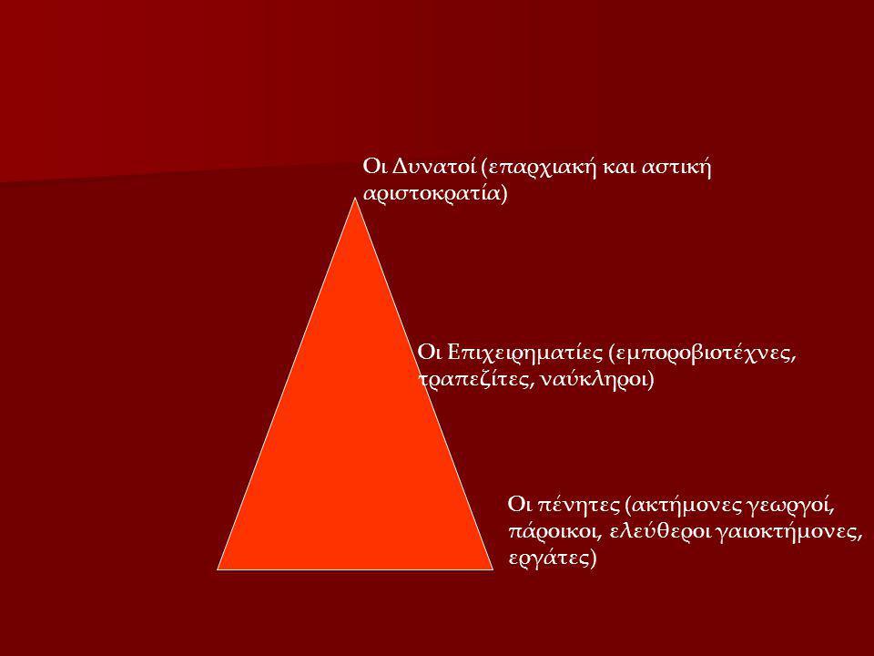Οι Δυνατοί (επαρχιακή και αστική αριστοκρατία) Οι πένητες (ακτήμονες γεωργοί, πάροικοι, ελεύθεροι γαιοκτήμονες, εργάτες) Οι Επιχειρηματίες (εμποροβιοτ