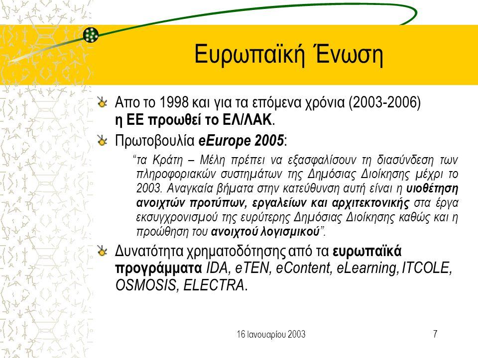816 Ιανουαρίου 2003 Διεθνής Εμπειρία στην Εκπαίδευση Η εκπαίδευση αποτελεί φυσικό χώρο χρήσης και ανάπτυξης ΕΛ/ΛΑΚ.