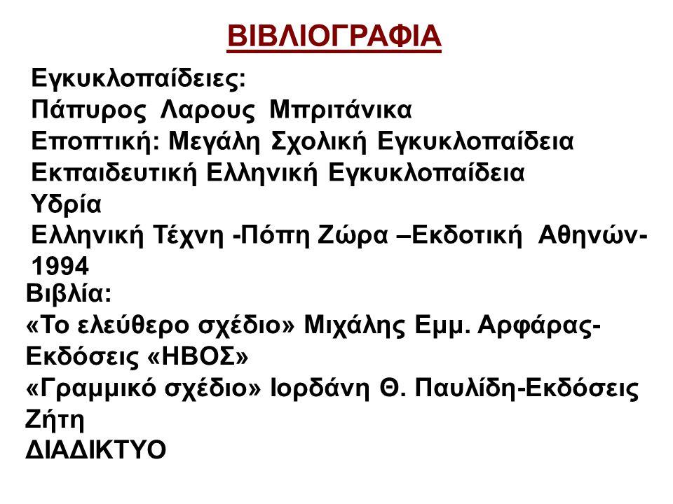 ΒΙΒΛΙΟΓΡΑΦΙΑ Εγκυκλοπαίδειες: Πάπυρος Λαρους Μπριτάνικα Εποπτική: Μεγάλη Σχολική Εγκυκλοπαίδεια Εκπαιδευτική Ελληνική Εγκυκλοπαίδεια Υδρία Ελληνική Τέχνη -Πόπη Ζώρα –Εκδοτική Αθηνών- 1994 Βιβλία: «Το ελεύθερο σχέδιο» Μιχάλης Εμμ.