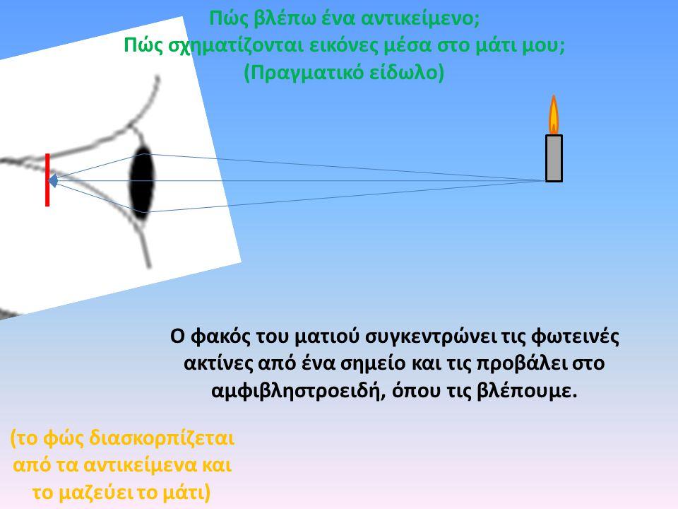 Ο φακός του ματιού συγκεντρώνει τις φωτεινές ακτίνες από ένα σημείο και τις προβάλει στο αμφιβληστροειδή, όπου τις βλέπουμε.