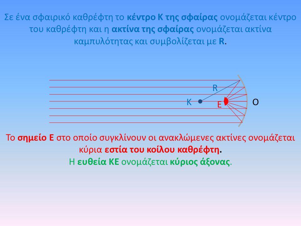 Σε ένα σφαιρικό καθρέφτη το κέντρο Κ της σφαίρας ονομάζεται κέντρο του καθρέφτη και η ακτίνα της σφαίρας ονομάζεται ακτίνα καμπυλότητας και συμβολίζεται με R.