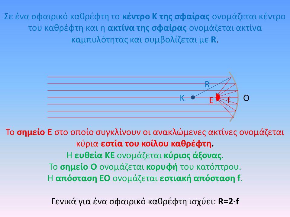 Σε ένα σφαιρικό καθρέφτη το κέντρο Κ της σφαίρας ονομάζεται κέντρο του καθρέφτη και η ακτίνα της σφαίρας ονομάζεται ακτίνα καμπυλότητας και συμβολίζετ