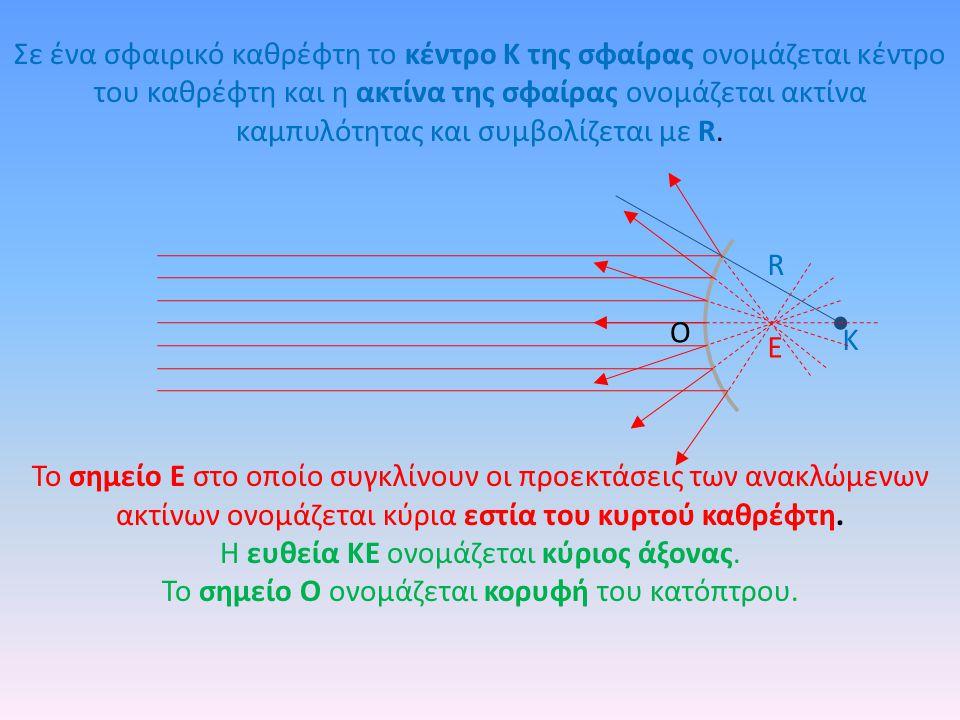 To σημείο Ε στο οποίο συγκλίνουν οι προεκτάσεις των ανακλώμενων ακτίνων ονομάζεται κύρια εστία του κυρτού καθρέφτη. Η ευθεία ΚΕ ονομάζεται κύριος άξον