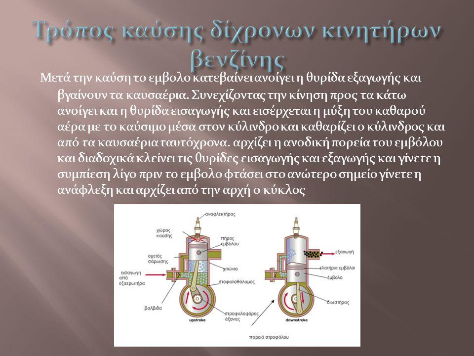 Μετά την καύση το εμβολο κατεβαίνει ανοίγει η θυρίδα εξαγωγής και βγαίνουν τα καυσαέρια. Συνεχίζοντας την κίνηση προς τα κάτω ανοίγει και η θυρίδα εισ