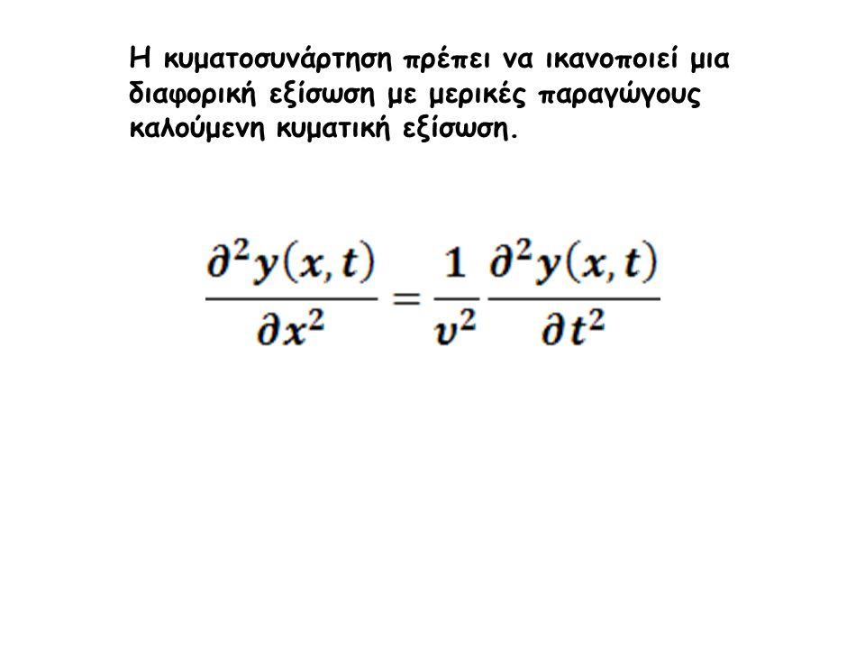 Η κυματοσυνάρτηση πρέπει να ικανοποιεί μια διαφορική εξίσωση με μερικές παραγώγους καλούμενη κυματική εξίσωση.