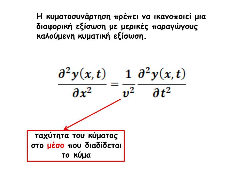 Η κυματοσυνάρτηση πρέπει να ικανοποιεί μια διαφορική εξίσωση με μερικές παραγώγους καλούμενη κυματική εξίσωση. ταχύτητα του κύματος στο μέσο που διαδί