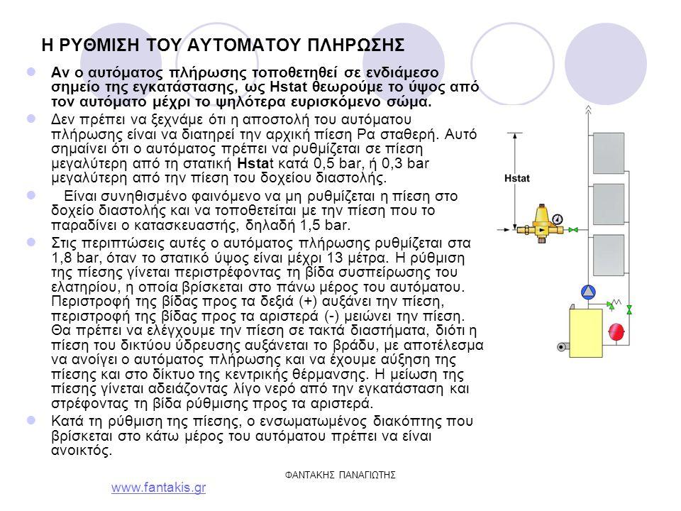 www.fantakis.gr ΦΑΝΤΑΚΗΣ ΠΑΝΑΓΙΩΤΗΣ H ΡΥΘΜΙΣΗ ΤΟΥ ΑΥΤΟΜΑΤΟΥ ΠΛΗΡΩΣΗΣ Αν ο αυτόματος πλήρωσης τοποθετηθεί σε ενδιάμεσο σημείο της εγκατάστασης, ως Hstat θεωρούμε το ύψος από τον αυτόματο μέχρι το ψηλότερα ευρισκόμενο σώμα.