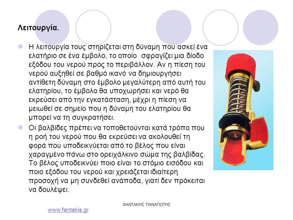 www.fantakis.gr ΦΑΝΤΑΚΗΣ ΠΑΝΑΓΙΩΤΗΣ Τυποποίηση – επιλογή Οι βαλβίδες που χρησιμοποιούνται στις κεντρικές θερμάνσεις έχουν δύο στόμια σε γωνιακή διάταξη, με βόλτα.