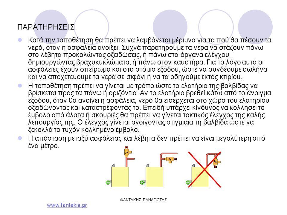 www.fantakis.gr ΦΑΝΤΑΚΗΣ ΠΑΝΑΓΙΩΤΗΣ ΠΑΡΑΤΗΡΗΣΕΙΣ Κατά την τοποθέτηση θα πρέπει να λαμβάνεται μέριμνα για το πού θα πέσουν τα νερά, όταν η ασφάλεια ανοίξει.