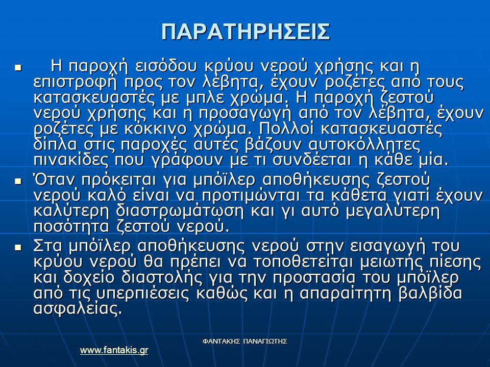 www.fantakis.gr ΦΑΝΤΑΚΗΣ ΠΑΝΑΓΙΩΤΗΣ ΠΑΡΑΤΗΡΗΣΕΙΣ Η παροχή εισόδου κρύου νερού χρήσης και η επιστροφή προς τον λέβητα, έχουν ροζέτες από τους κατασκευαστές με μπλε χρώμα.