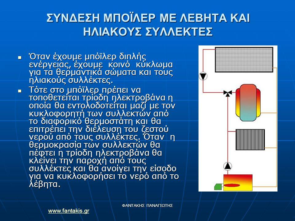 www.fantakis.gr ΦΑΝΤΑΚΗΣ ΠΑΝΑΓΙΩΤΗΣ ΣΥΝΔΕΣΗ ΜΠΟΪΛΕΡ ΜΕ ΛΕΒΗΤΑ ΚΑΙ ΗΛΙΑΚΟΥΣ ΣΥΛΛΕΚΤΕΣ Όταν έχουμε μπόϊλερ διπλής ενέργειας, έχουμε κοινό κύκλωμα για τα