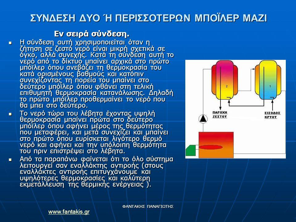 www.fantakis.gr ΦΑΝΤΑΚΗΣ ΠΑΝΑΓΙΩΤΗΣ ΣΥΝΔΕΣΗ ΔΥΟ Ή ΠΕΡΙΣΣΟΤΕΡΩΝ ΜΠΟΪΛΕΡ ΜΑΖΙ Εν σειρά σύνδεση. Η σύνδεση αυτή χρησιμοποιείται όταν η ζήτηση σε ζεστό νε
