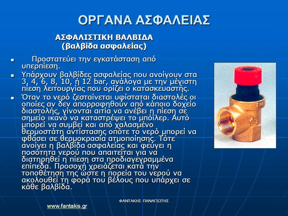 www.fantakis.gr ΦΑΝΤΑΚΗΣ ΠΑΝΑΓΙΩΤΗΣ ΟΡΓΑΝΑ ΑΣΦΑΛΕΙΑΣ ΑΣΦΑΛΙΣΤΙΚΗ ΒΑΛΒΙΔΑ (βαλβίδα ασφαλείας) Προστατεύει την εγκατάσταση από υπερπίεση. Προστατεύει τη