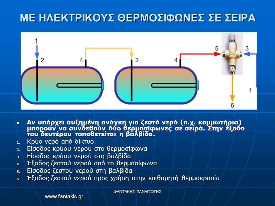 www.fantakis.gr ΦΑΝΤΑΚΗΣ ΠΑΝΑΓΙΩΤΗΣ ΜΕ ΗΛΕΚΤΡΙΚΟΥΣ ΘΕΡΜΟΣΙΦΩΝΕΣ ΣΕ ΣΕΙΡΑ Αν υπάρχει αυξημένη ανάγκη για ζεστό νερό (π.χ.