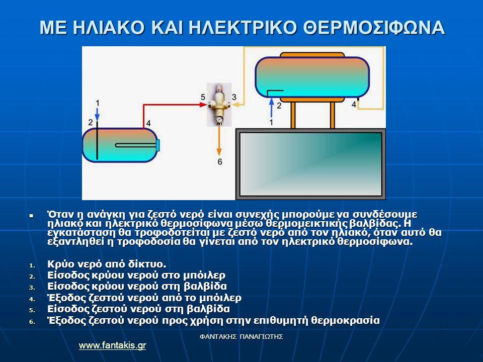 www.fantakis.gr ΦΑΝΤΑΚΗΣ ΠΑΝΑΓΙΩΤΗΣ ΜΕ ΗΛΙΑΚΟ ΚΑΙ ΗΛΕΚΤΡΙΚΟ ΘΕΡΜΟΣΙΦΩΝΑ Όταν η ανάγκη για ζεστό νερό είναι συνεχής μπορούμε να συνδέσουμε ηλιακό και η