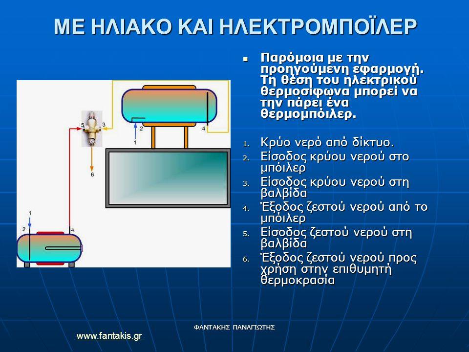 www.fantakis.gr ΦΑΝΤΑΚΗΣ ΠΑΝΑΓΙΩΤΗΣ ΜΕ ΗΛΙΑΚΟ ΚΑΙ ΗΛΕΚΤΡΟΜΠΟΪΛΕΡ Παρόμοια με την προηγούμενη εφαρμογή. Τη θέση του ηλεκτρικού θερμοσίφωνα μπορεί να τη
