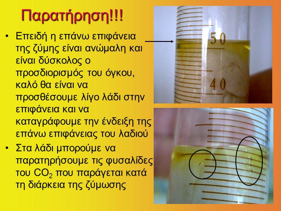 Παρατήρηση!!! Επειδή η επάνω επιφάνεια της ζύμης είναι ανώμαλη και είναι δύσκολος ο προσδιορισμός του όγκου, καλό θα είναι να προσθέσουμε λίγο λάδι στ