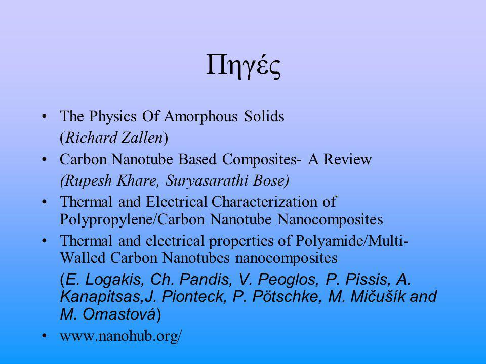 Πηγές The Physics Of Amorphous Solids (Richard Zallen) Carbon Nanotube Based Composites- A Review (Rupesh Khare, Suryasarathi Bose) Thermal and Electr