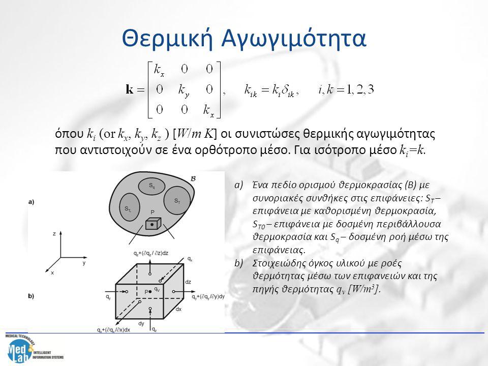 Θερμική Αγωγιμότητα Η εξίσωση (1) μετατρέπεται τελικά στην ακόλουθη μορφή: (4) όπου έχουμε υποθέσει ότι οι συντελεστές θερμικής αγωγιμότητας k i εξαρτώνται από τη θερμοκρασία.