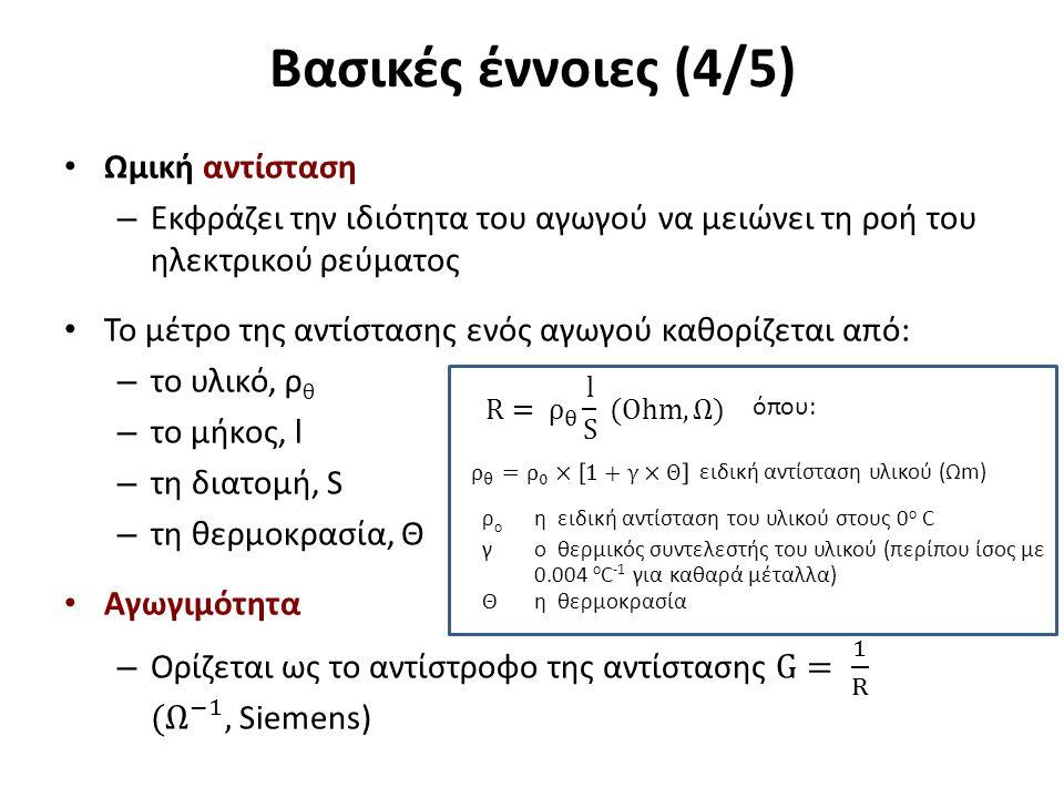 Βασικές έννοιες (4/5) ρ ο η ειδική αντίσταση του υλικού στους 0 ο C γ o θερμικός συντελεστής του υλικού (περίπου ίσος με 0.004 ο C -1 για καθαρά μέταλ
