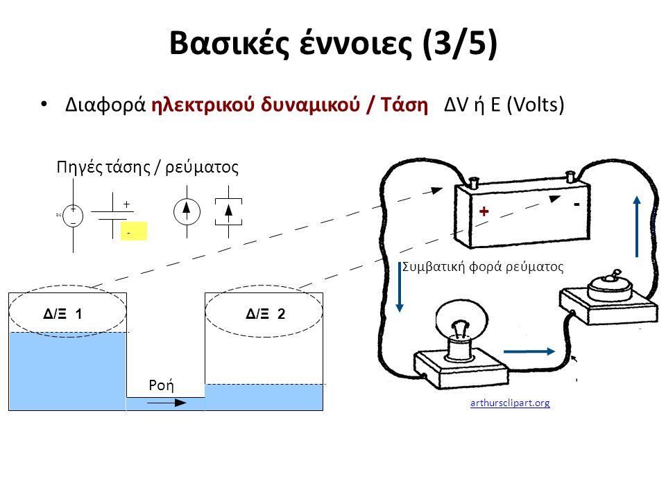 Βασικές έννοιες (3/5) Διαφορά ηλεκτρικού δυναμικού / Τάση ΔV ή E (Volts) + - - Συμβατική φορά ρεύματος Δ/Ξ 1Δ/Ξ 2 Ροή Πηγές τάσης / ρεύματος DCDC arth