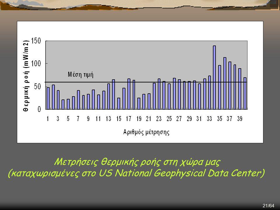 21/64 Μετρήσεις θερμικής ροής στη χώρα μας (καταχωρισμένες στο US National Geophysical Data Center)