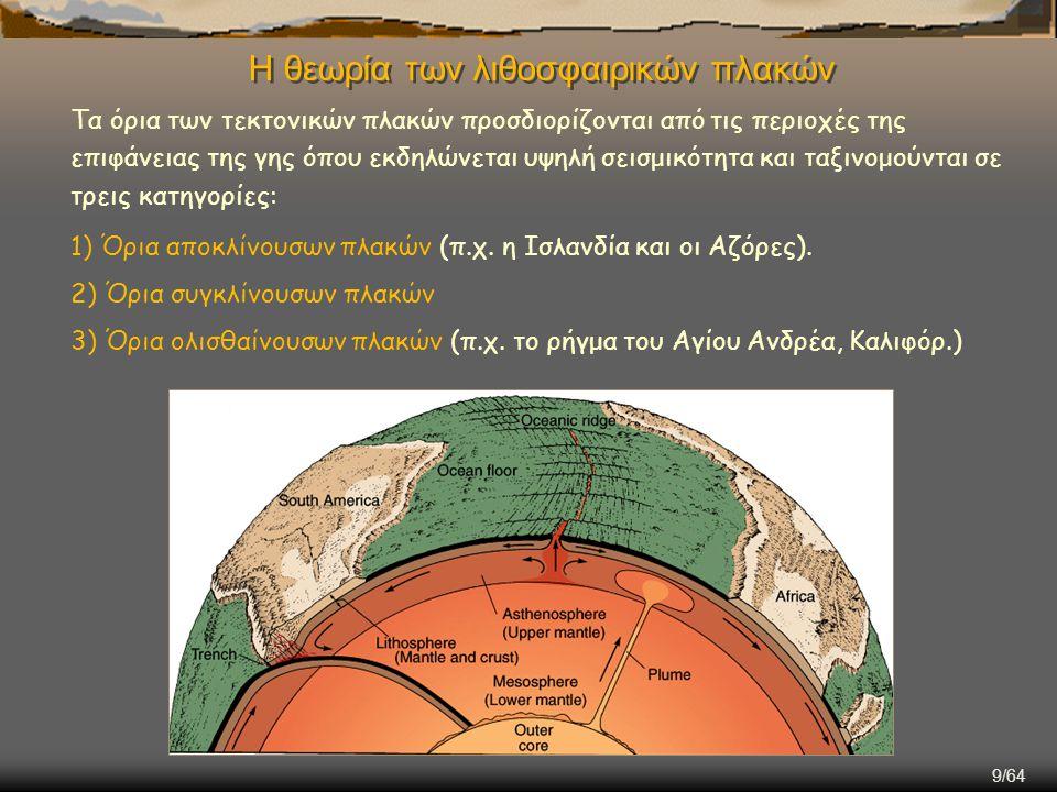 9/64 Η θεωρία των λιθοσφαιρικών πλακών Τα όρια των τεκτονικών πλακών προσδιορίζονται από τις περιοχές της επιφάνειας της γης όπου εκδηλώνεται υψηλή σε