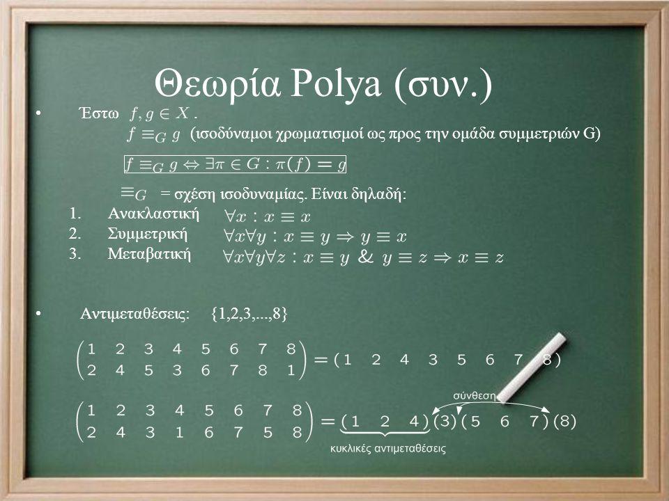 Θεωρία Polya (συν.) Έστω. (ισοδύναμοι χρωματισμοί ως προς την ομάδα συμμετριών G) = σχέση ισοδυναμίας. Είναι δηλαδή: 1.Ανακλαστική 2.Συμμετρική 3.Μετα