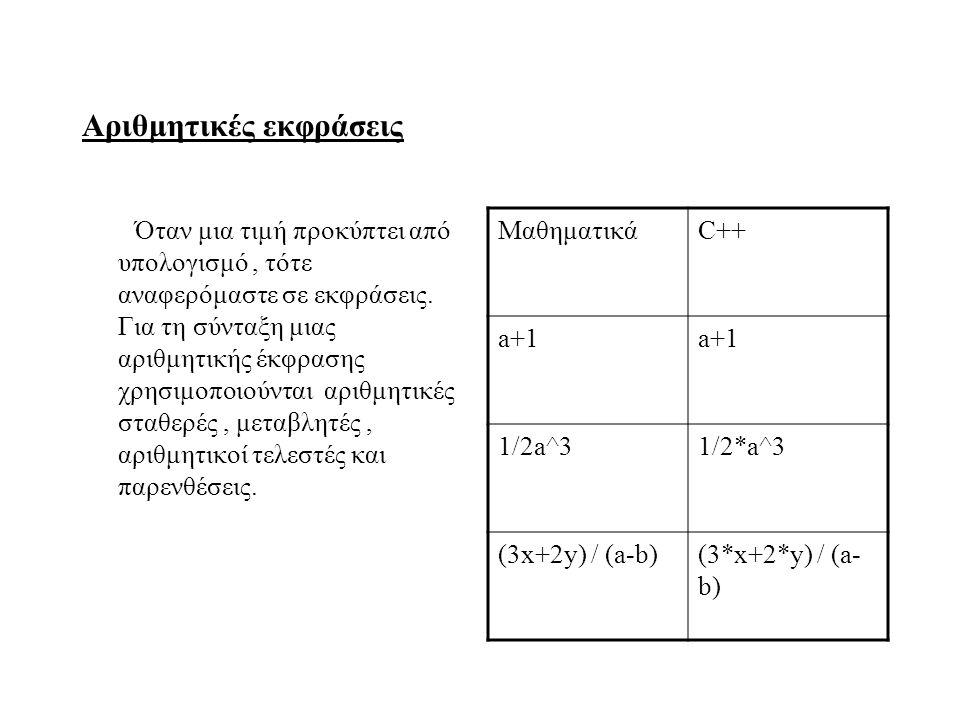 Αριθμητικές εκφράσεις Όταν μια τιμή προκύπτει από υπολογισμό, τότε αναφερόμαστε σε εκφράσεις. Για τη σύνταξη μιας αριθμητικής έκφρασης χρησιμοποιούντα