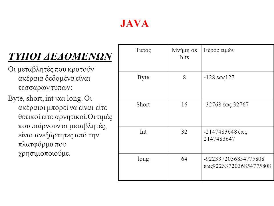 JAVA ΤΥΠΟΙ ΔΕΔΟΜΕΝΩΝ Οι μεταβλητές που κρατούν ακέραια δεδομένα είναι τεσσάρων τύπων: Byte, short, int και long. Οι ακέραιοι μπορεί να είναι είτε θετι