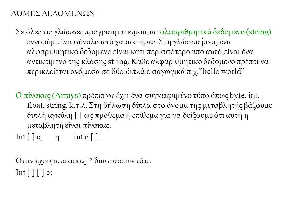 ΔΟΜΕΣ ΔΕΔΟΜΕΝΩΝ Σε όλες τις γλώσσες προγραμματισμού, ως αλφαριθμητικό δεδομένο (string) εννοούμε ένα σύνολο από χαρακτήρες. Στη γλώσσα java, ένα αλφαρ