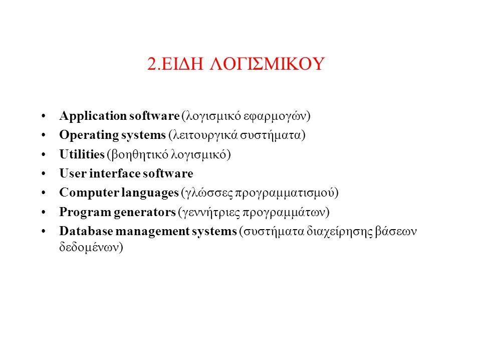Application software (λογισμικό εφαρμογών) Το λογισμικό εφαρμογών αποτελείται από προγράμματα τα οποία καθορίζουν τον τρόπο με τον οποίο θα λειτουργήσει το υλικό (hardware) ώστε να εξυπηρετεί τις απαιτήσεις του χρήστη.